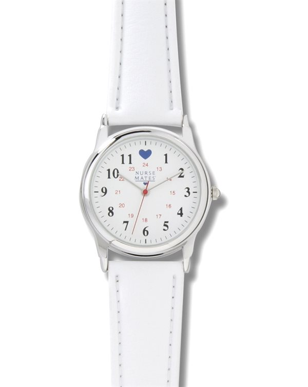Nurse Mates Chrome Military Dial with Blue Hearts Watch