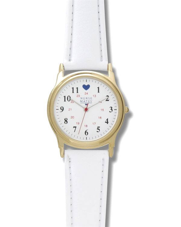 Nurse Mates Gold Military Dial with Blue Hearts Watch