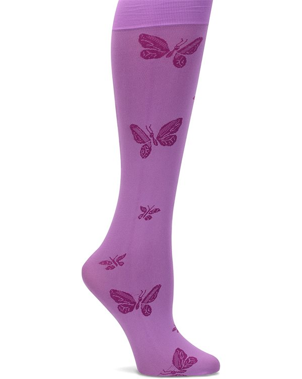 Nurse Mates Orchid Butterfly Compression Trouser Socks-