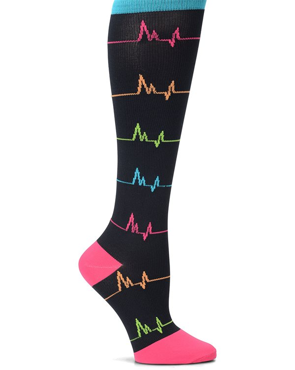 Nurse Mates Black EKG Wide Calf Compression Trouser Sock