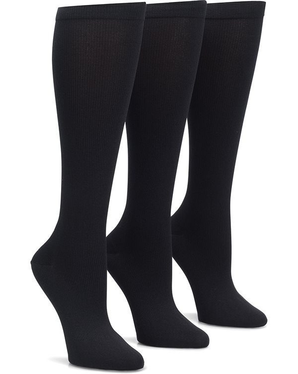Nurse Mates Black 3-Pack Compression Trouser Socks