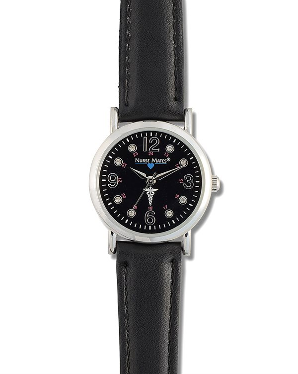 Nurse Mates Black Caduceus Watch-