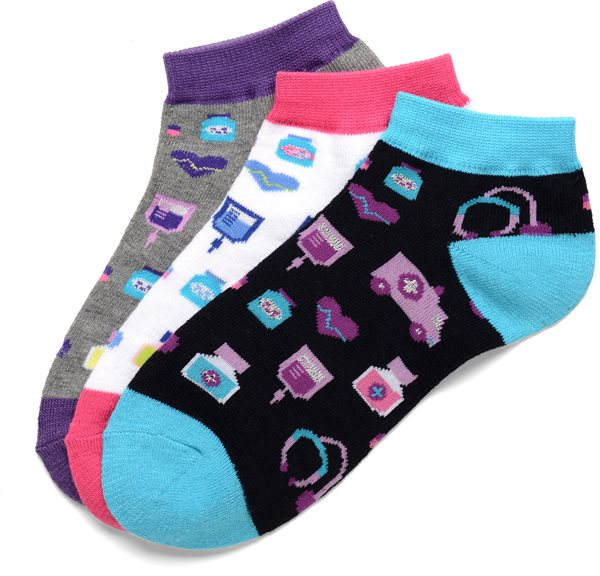 Nurse Mates 3-Pack Medical Icons Anklet Socks