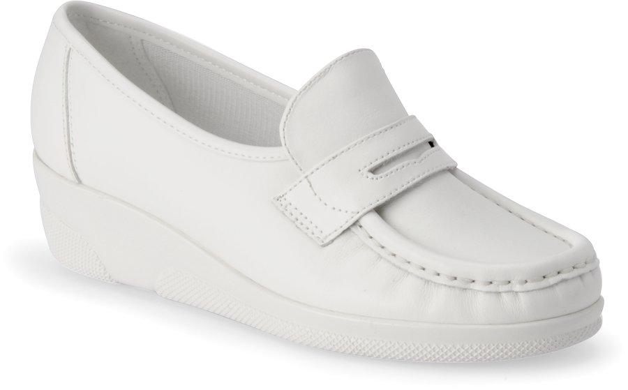 Nurse Mates Women's Pennie White Slip-On Shoe-