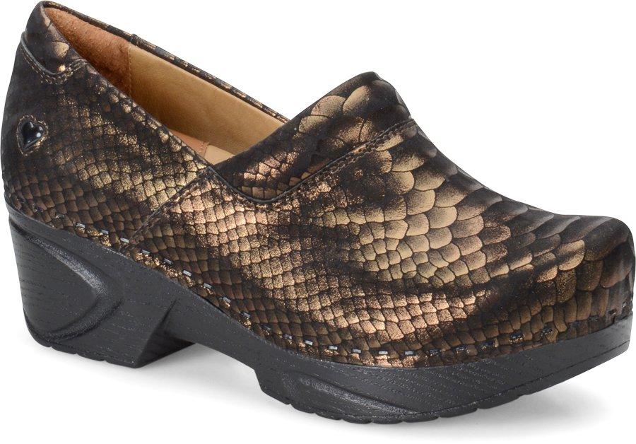 Nurse Mates Women's Chloe Gold Python Clog Shoe-Nurse Mates Shoes