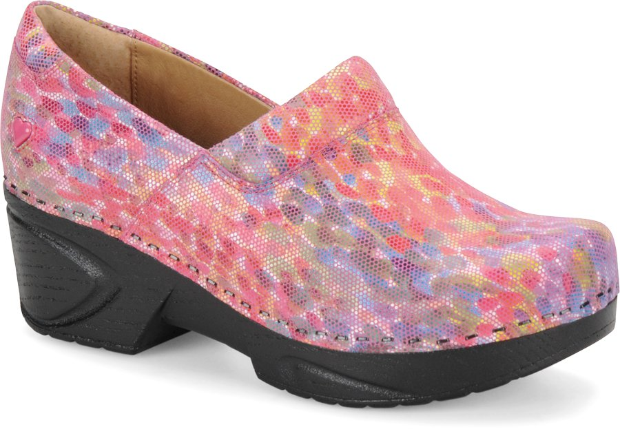 Nurse Mates Women's Chloe Pink Monet Clog Shoe-Nurse Mates Shoes
