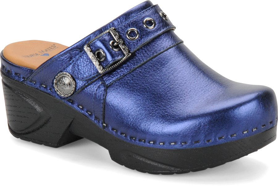 Nurse Mates Women's Casey Blue Metal Step-In Clog Shoe-