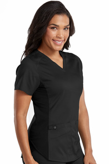 V-Neck Shirttail Hem Kerri Top-Med Couture Touch