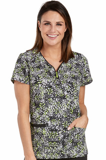 Zip Front Zippity Print Top-