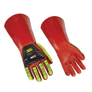 074 Short Cuff Impact PVC Dip Glove w/ Knit Kevlar Shell and Matte Finish Palm-Ringers Gloves
