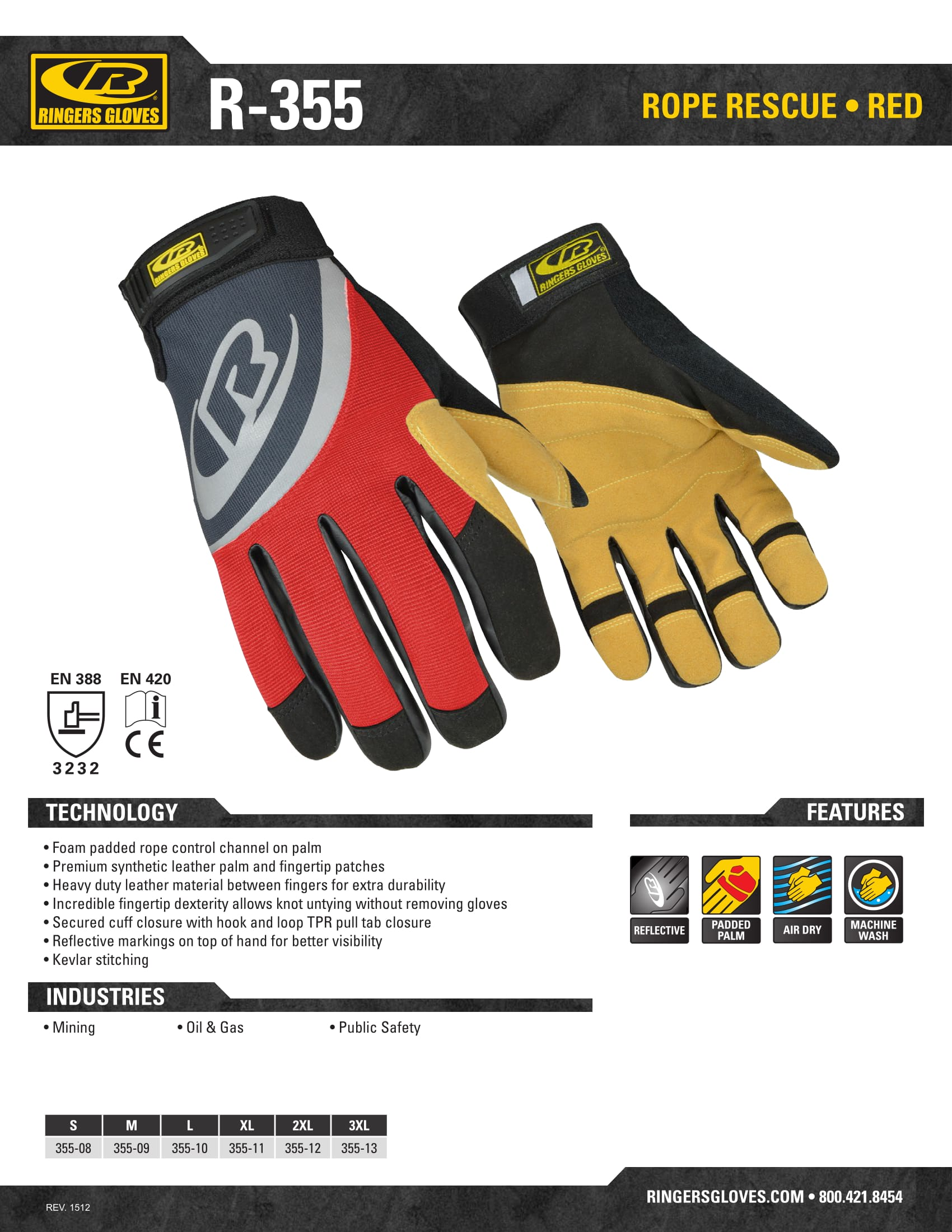 Buy Rope Rescue Glove Red - Ringers Gloves Online at Best