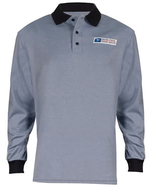 Retail Clerk Knit Polo Long Sleeve Shirts - Mens