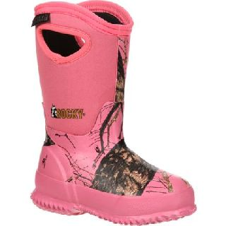 RKYS122 Rocky Core Big Kid's Pink Camo Waterproof 400g Insulated Rubber Boot-