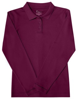 Junior Long Sleeve Fitted Interlock Polo-Classroom School Uniforms