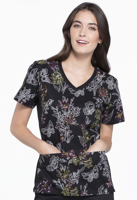 Flexibles Printed V-Neck Knit Panel Print Top - 1912C