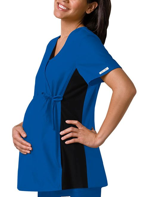 Flexibles Maternity Mock Wrap Knit Panel Top - 2892