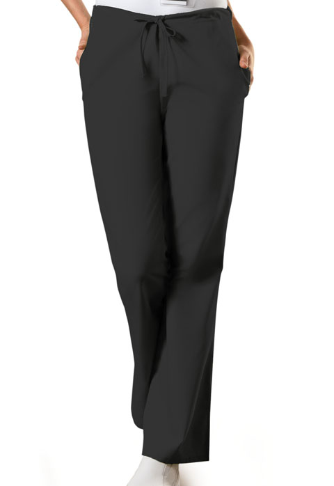 Cherokee Work Wear Natural Rise Flare Leg Drawstring Pant-Cherokee Workwear