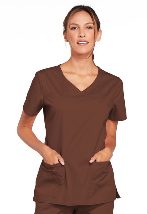 Cherokee Work Wear Stretch V-Neck Scrub Top-Cherokee Workwear
