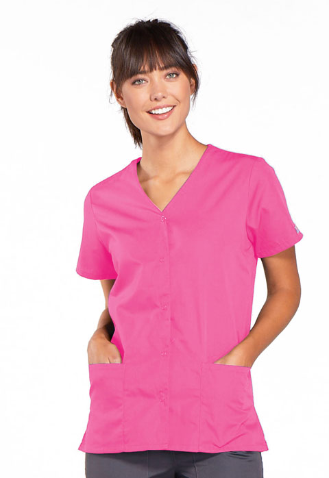 Cherokee Work Wear Snap Front V-Neck Scrub Top-Cherokee Workwear