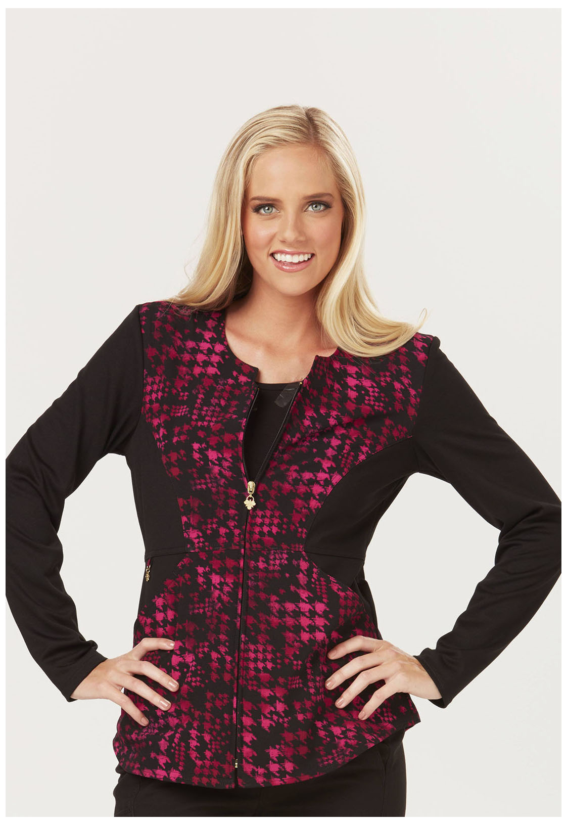 Careisma 'A Passion For Pink' Zip Front Scrub Jacket