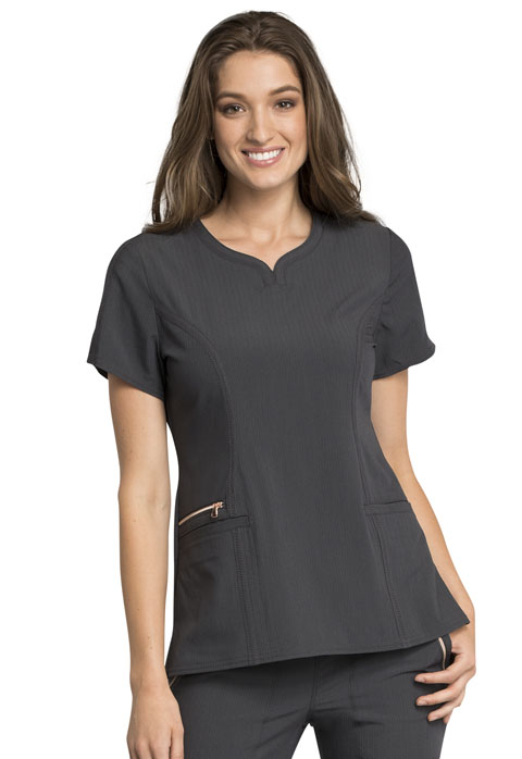 CH Statement NEW Knit Panel V-Neck Top - Cherokee CK695-Cherokee Medical