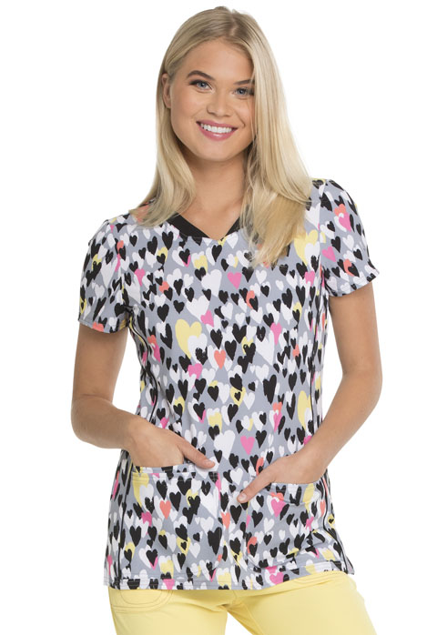 WSL HeartSoul Print V-Neck Top - HS601-