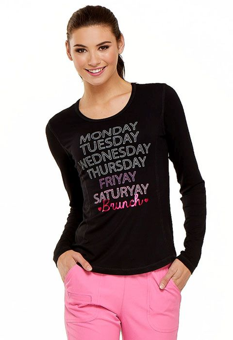 "HeartSoul ""Friyay"" Long Sleeve Underscrub Knit Tee - HS625-Heartsoul"