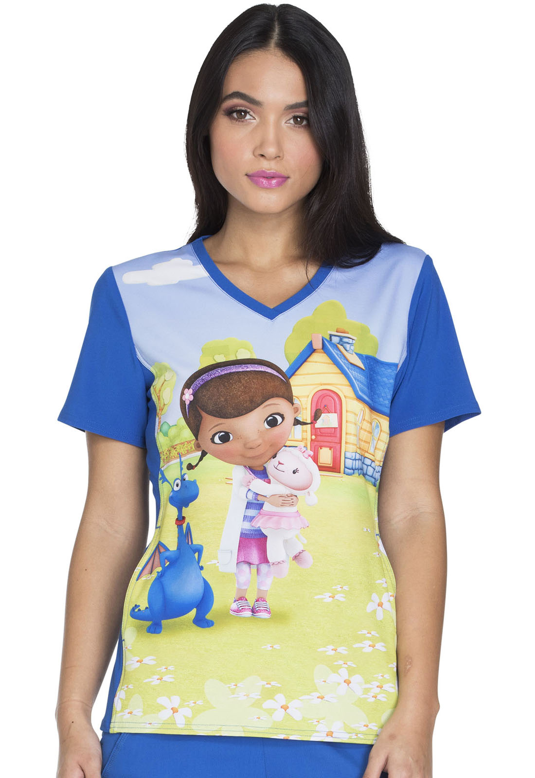 Cherokee Tooniforms Disney The Force Is Strong V-Neck Knit Panel Scrub Top