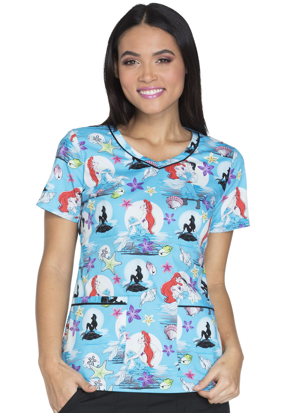 Cherokee Tooniforms Disney Moonlight Magic V-Neck Scrub Top-Tooniforms