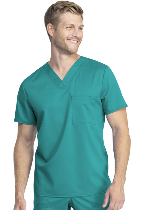 Tech NEW Unisex V-Neck Top - Antimicrobial w/Fluid Barrier-Cherokee Workwear