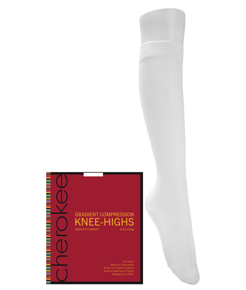1 Pair Pack of Support Knee Highs-Cherokee Medical