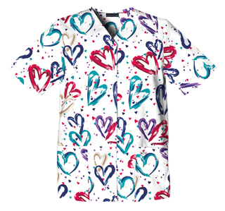 Valentine Print Snap Front Scrub Top Heartbeat  - 1750 HRTB-Cherokee Medical