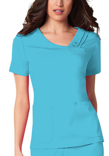 Crossover V-Neck Pin-Tuck Top-Cherokee Medical