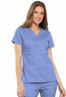 Empire Waist Mock Wrap Top-Cherokee Medical