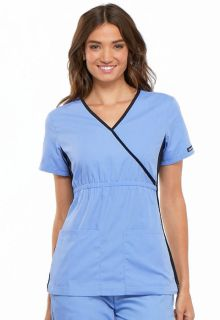 Mock Wrap Knit Panel Top-Cherokee Medical