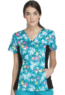 2812 V-Neck Knit Panel Top-Cherokee Medical