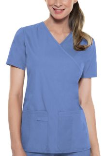2824 Mock Wrap Knit Panel Top-Cherokee Medical
