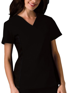 Cherokee 2 Hidden Pockets V-Neck Knit Panel Top