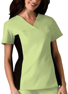 Cherokee 2 Hidden Pockets V-Neck Knit Panel Top-Cherokee Medical