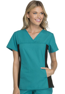 My Flexibles Ladies V-Neck Knit Panel Top - 2874-Cherokee Medical