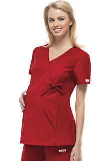 Maternity Mock Wrap Knit Panel Top-Cherokee Uniforms