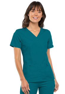 My Flexibles Ladies Sporty V-Neck Knit Panel Top - 2968-Cherokee Medical