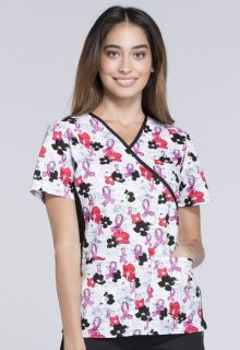 2988C Mock Wrap Knit Panel Top-Cherokee Medical