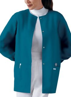 Cherokee Round Neck Snap Front Warm-Up Scrub Jacket-Cherokee Medical