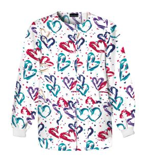 Valentine Print Snap Front Warm-Up Jacket - 350 Heartbeat (HRTB)-Cherokee Medical