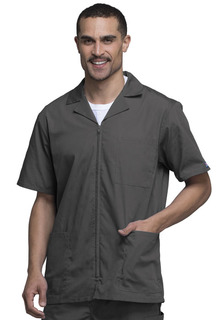Workwear Men's Short Sleeve Lapel Collar Zip Front Scrub Jacket - Originals 4300-Cherokee Workwear