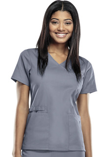 44801A Modern Mock Wrap Top With Flex Certainty - Cherokee Workwear