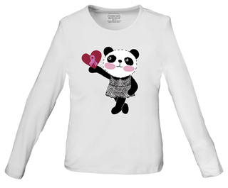 DEAL - Little Miss Panda Long Sleeve Knit Tee - Hearts and Ribbons-Cherokee Workwear