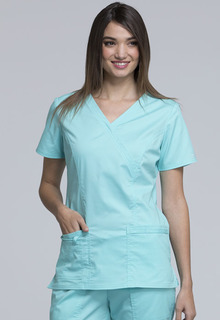 Core Modern 3 Pocket Ladies Mock Wrap Scrub Top - Workwear 4728-Cherokee workwear