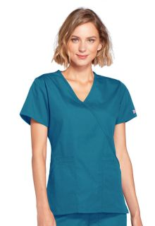 Workwear Ladies 4 Pocket Mock Wrap Scrub Top - Originals 4741-Cherokee Workwear